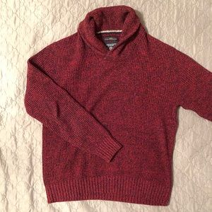 American Eagle Men Red Shawl Neck Collard Pullover